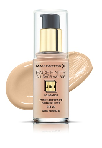 Max Factor beige Max Factor Face Finity All Day Flawless 3 In 1 SPF 20 Foundation, 30ml, 45 Warm Almond 6DED3BE06D0304GS_1