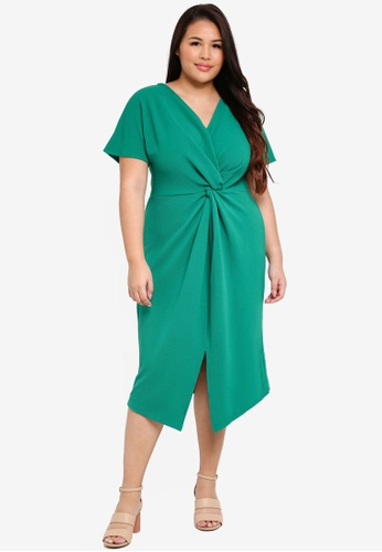 Dorothy Perkins green Plus Size Emerald Knot Front Dress 6C8A3AAF32AE56GS_1
