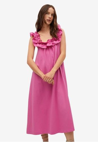 Mango pink Frill Cotton Dress 66BC9AA1EE2F86GS_1