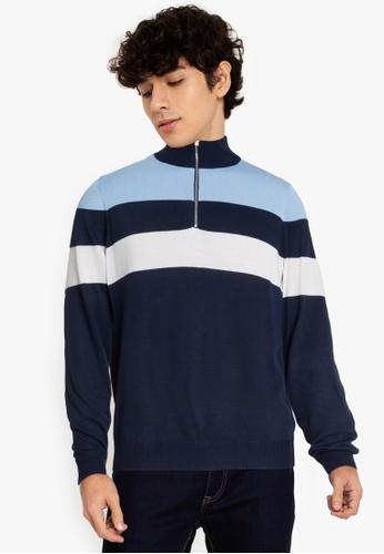 ZALORA BASICS multi Stripe Zip Through Sweater 2A8EEAA5B372D5GS_1
