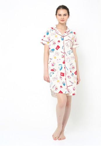 madeleine white and pink and blue Beauty White Sleepshirt MA534US0UFPUID_1