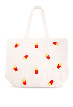 Fries Fries Fries Embroidered Canvas Tote Bag