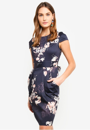 CLOSET navy Tulip Tie Back Dress F86AEAA143A2C0GS_1