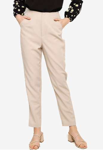 Lubna brown Straight Cut Pants 8BF46AA4A61434GS_1