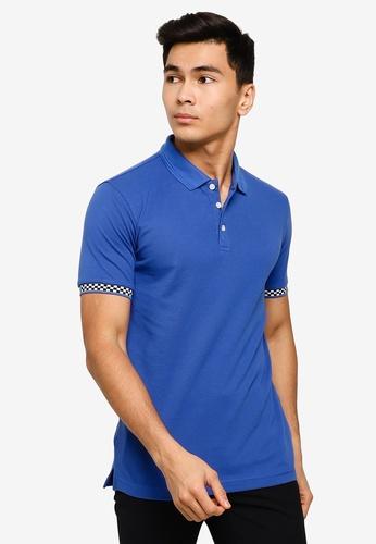 UniqTee 藍色 Polo 襯衫 With 格紋Cuff 5E387AABC32D84GS_1