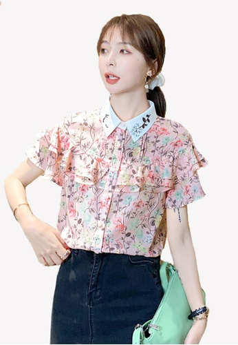 Halo pink Printed Ruffles Embroidery Chiffon Blouses AB864AA6505EBCGS_1