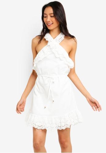 INDIKAH white Ruffle Halter Tie Neck Lace Hem Skater Dress 34EC5AAB6D2EFEGS_1