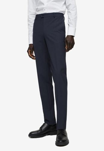 MANGO Man 藍色 修身Fit 羊毛 Suit 長褲 BFAD2AA0AB322BGS_1