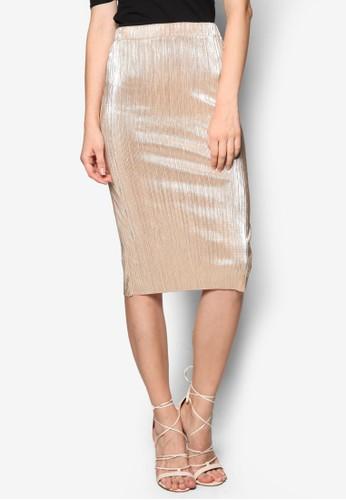金屬感細褶鉛筆裙, esprit高雄門市服飾, 裙子