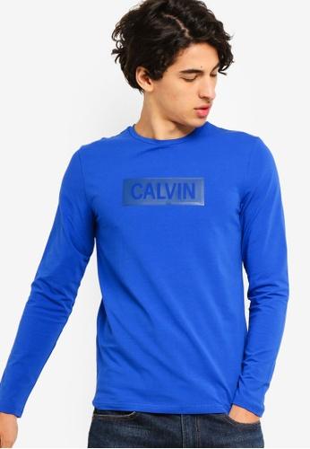 Calvin Klein 藍色 長袖Institutional LOGO修身T恤 - Calvin Klein 牛仔褲 7689CAA6CBCD26GS_1
