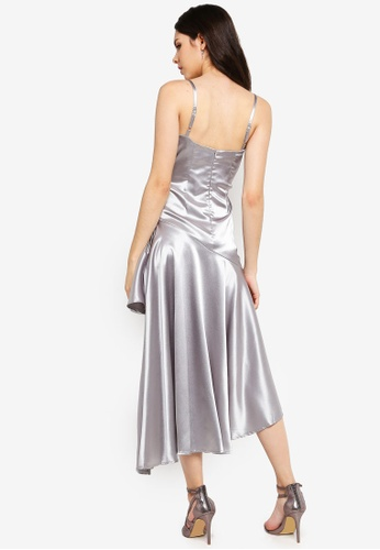 d054ffb71b2 Buy Goddiva High Low Pleated Satin Midi Dress Online