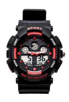 XINJIA Sports Digital Men Red/Black Rubber Strap Watch 860Z