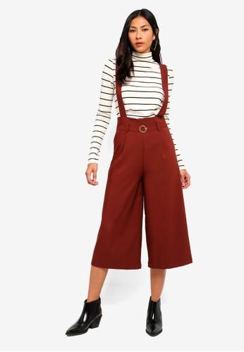 Hopeshow red Capri Suspender Pants 1CC9AAA10D90CEGS_1