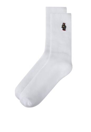 Topman white White Embroidered Robot Tube Socks TO413AA0SR9OMY_1