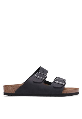 Birkenstock 黑色 Arizona Oiled Leather Sandals BI090SH0RTJ1MY_1