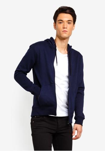 Burton Menswear London 海軍藍色 Navy Zip Through Hoodie 5AA6CAAACF583FGS_1