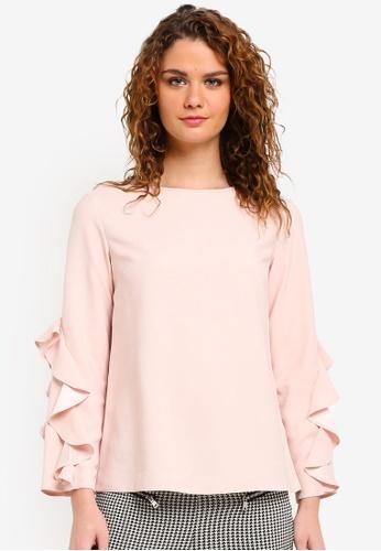 Dorothy Perkins pink Blush Ruffle Long Sleeve Top DO816AA0RMY4MY_1
