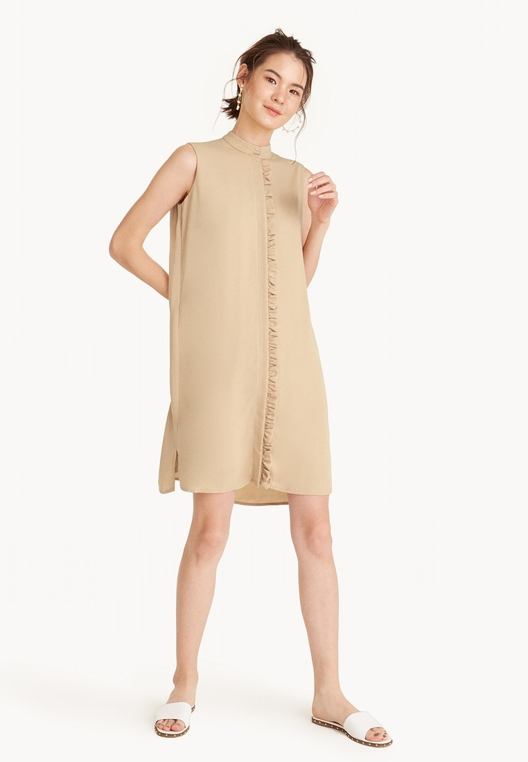 Sleeveless Midi Khaki Dress Frill Khaki Placket Pomelo 4ZOxHwZ