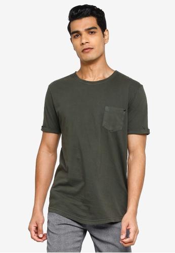 !Solid green Loman Pocket T-Shirt 99804AA78CF55AGS_1