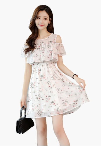 1b9be1ee59 Halo beige Summer Chiffon Floral Printed Cold- Shoulder Dress  B3E1BAAD71913BGS_1