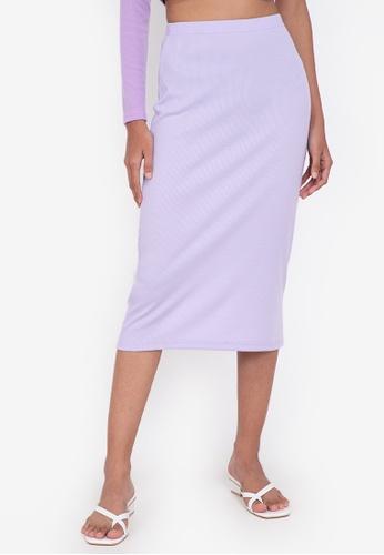 ZALORA BASICS purple Midi Ribbed High Waist Skirt 8E614AA58F066BGS_1