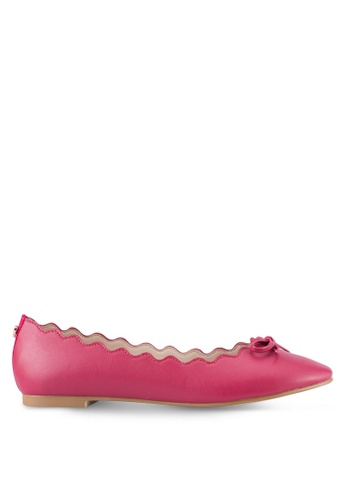 Velvet pink Scalloped Edge Ballerina Flats with Bow D1B70SH1D47000GS_1