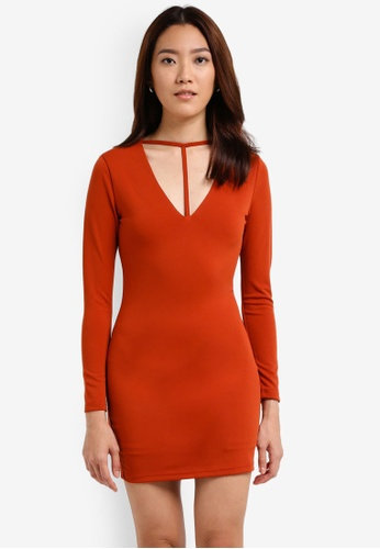 Something Borrowed orange Plunge Neck Detail Bodycon Dress E1BA8AAB03DC81GS_1