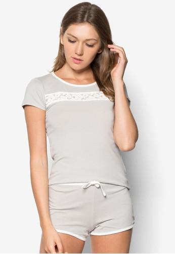 蕾絲邊飾兩件式睡衣, 服飾, esprit outlet 家樂福服飾