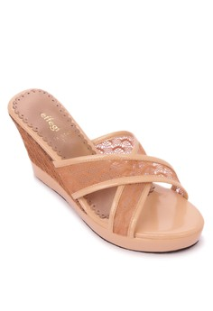 Lace Wedge Slides