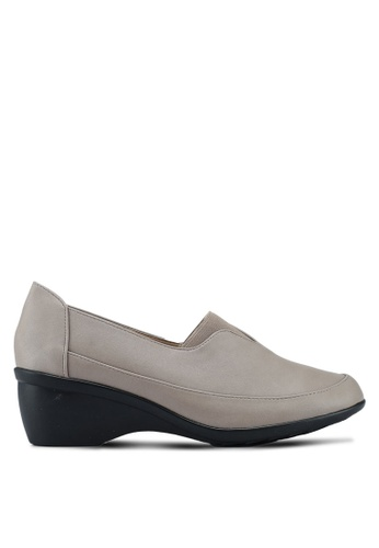 Noveni grey Slip On Wedge Loafers C987BSHA654373GS_1