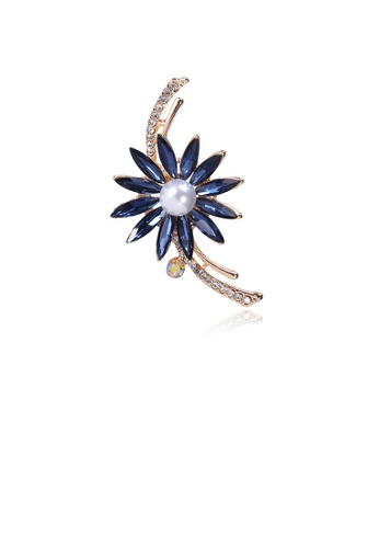 Glamorousky white Fashion and Elegant Plated Gold Flower Brooch with Blue Cubic Zirconia D5C42ACA530E34GS_1
