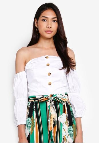 Glamorous 白色 鈕釦露肩 Crop上衣 AA087AA8F5CD47GS_1