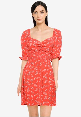 Abercrombie & Fitch red Smocked Waist Pami Short Dress 4B5F1AA6B5FC70GS_1
