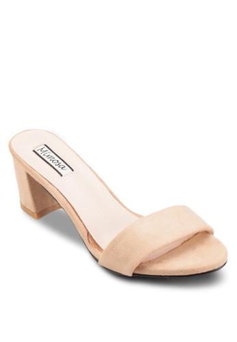 zalora鞋子評價一字帶中高跟涼鞋, 女鞋, 鞋