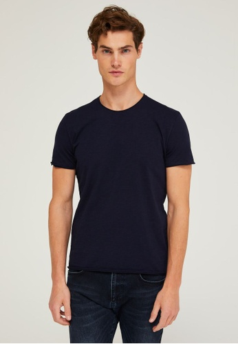 Sisley blue Regular Fit Crew-neck T-shirt F0A2FAA6A33D93GS_1