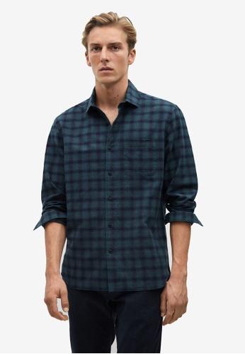 Mango Man green Regular Fit Checked Flannel Shirt 4DCB7AA89E7DBAGS_1