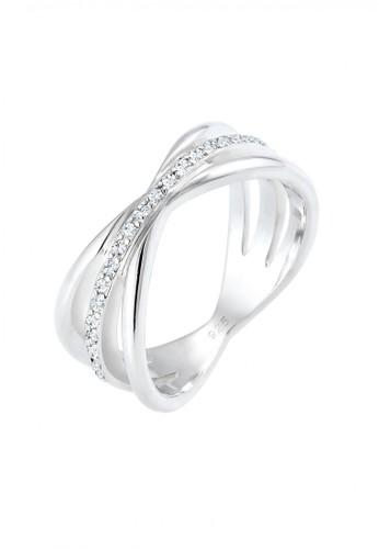 Elli Germany silver Perhiasan Wanita Perak Asli - Silver Cincin Wrap Crystal EL948AC45FYWID_1