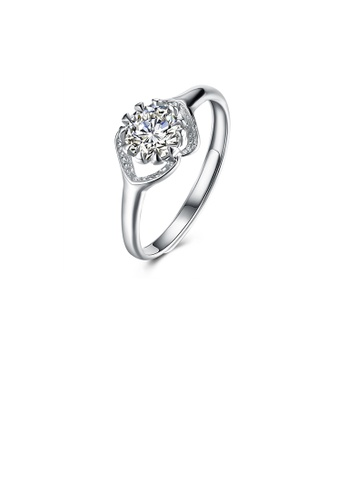 Glamorousky white 925 Sterling Silver Fashion Bright Cutout Geometric Cubic Zircon Adjustable Ring F2A68AC1F56FE0GS_1