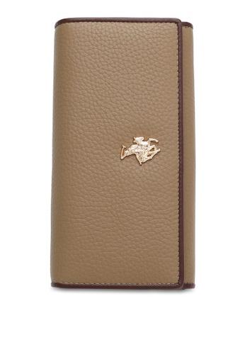 Swiss Polo brown Contrast Trim RFID Long Purse 01274ACC590371GS_1