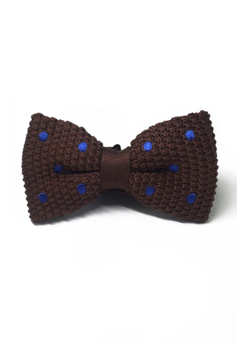 Splice Cufflinks brown Webbed Series Blue Polka Dots Brown Knitted Bow Tie SP744AC86UBLSG_1
