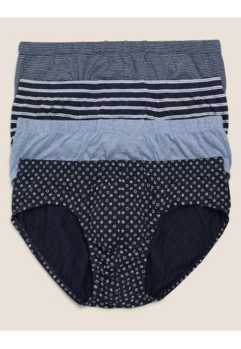 MARKS & SPENCER blue M&S 4pk Pure Cotton Cool & Fresh™ Slips 0FBBEUS3FD1F22GS_1