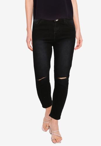 ZALORA BASICS black Denim Jeans With Slit CDD04AAC68399AGS_1