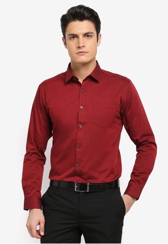 Kent & Crew red Fashion Slim Fit Long Sleeve Shirt 6F331AAB57BFEDGS_1