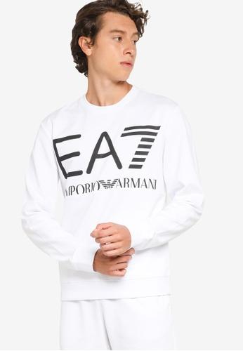 EA7 white Train Logo Series Oversize Logo Sweatshirt CC38CAA8358D6AGS_1