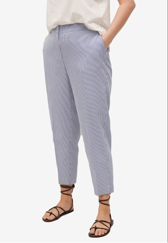 Violeta by MANGO blue Plus Size Straight Striped Trousers 189A1AA9E92256GS_1