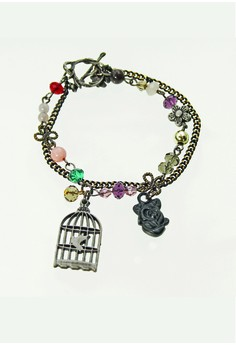 WLB015 Women's Bracelet wuth Aves and Birdcage Charms