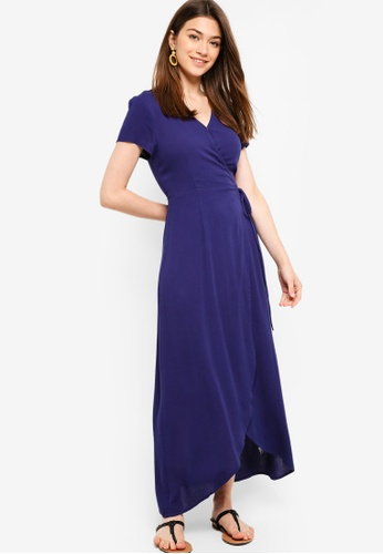 Something Borrowed navy Short Sleeves Wrap Maxi Dress 37E49AABB041B5GS_1