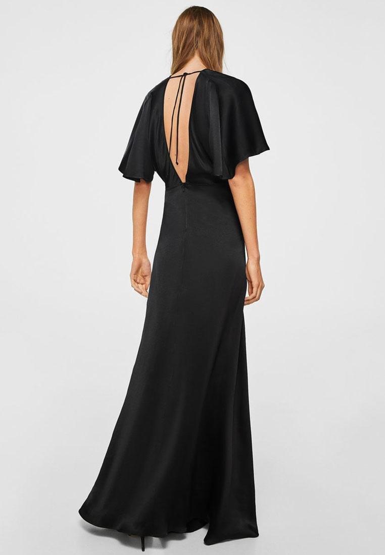Mango Detail Back Satin Dress Black H1anWqXTw