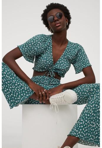 H&M green Pleated jazz trousers 74E41AA7C8DE1EGS_1
