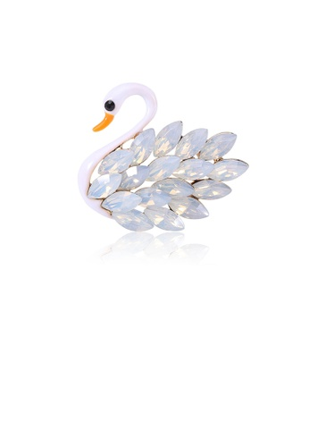 Glamorousky white Fashion and Elegant White Swan Brooch with Cubic Zirconia 1CF82AC94632ACGS_1